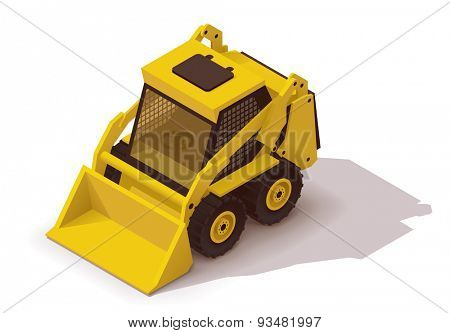 Isometric icon representing yellow mini loader