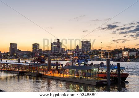 Skyline of Hamburg at the Elbe river