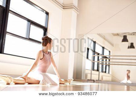 Ballerina Admiring Reflection Of Self Doing Splits