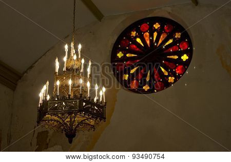 Chandelier & Stained Glass
