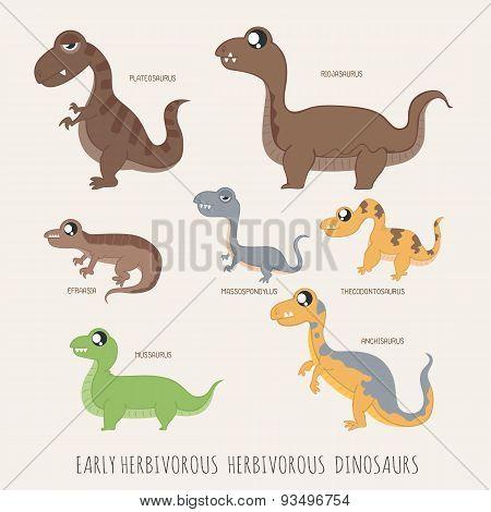 Set Of Early Herbivorous Herbivorous Dinosaurs