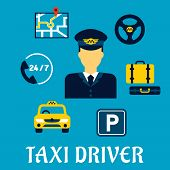 Taxi driver profession flat concept with elegant man in uniform surrounded by taxi service icons such as yellow car, parking sign, luggage, steering wheel, navigation map and call center poster