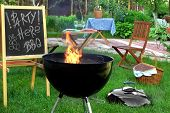 Backyard BBQ Grill Party Scene.Chalkboard With Sign Party Here BBQ Flaming Grill Wood Outdoor Furniture Garden Decoration Wine Picnic Basket poster