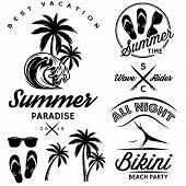 emblem set for design to topic summer with bikini party flip-flops poster