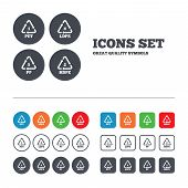 PET 1, Ld-pe 4, PP 5 and Hd-pe 2 icons. High-density Polyethylene terephthalate sign. Recycling symbol. Web buttons set. Circles and squares templates. Vector poster