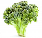 Broccoli close up on a white background poster