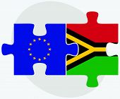 European Union and Vanuatu Flags in puzzle isolated on white background. poster