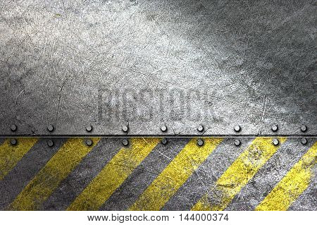 grunge metal background. rivet on metal plate and yellow line painted. material design 3d illustration.