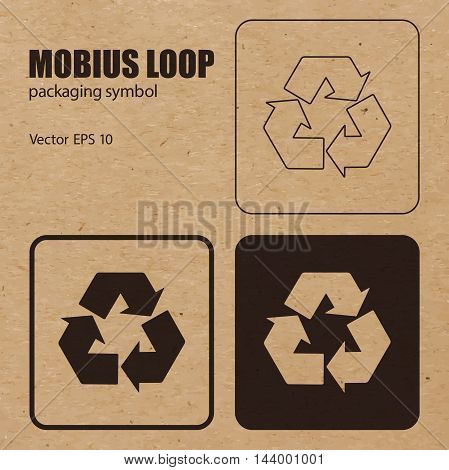 Mobius Loop vector packaging symbol on vector cardboard background. Handling mark on craft paper background. Can be used on a box or packaging. Vector EPS 10.