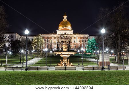 View of Massachusetts State House from Boston Common
