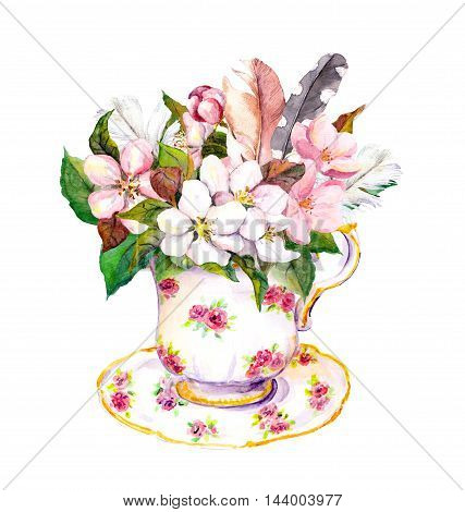 Pink blossom flowers in tea cup and vintage feathers. Elegant watercolor for tea time