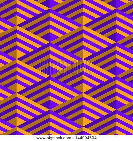 Retro Fold Purple And Orange Striped Diamonds