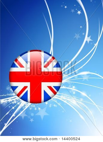 Great Britain Flag Button on Abstract Light Background Original Illustration