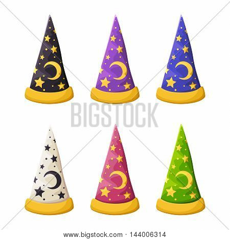Vector set of colorful wizard's hats with stars isolated on a white background.