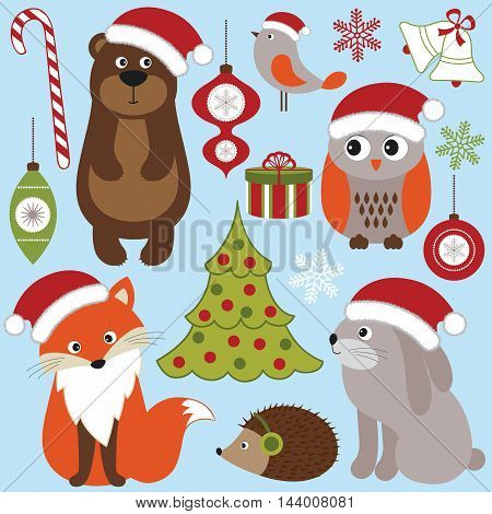 Vector Christmas woodland animals - rabbit owl bear fox hedgehog and bird