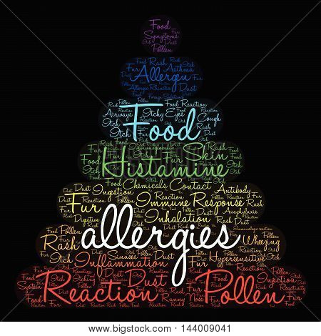 Allergies word cloud on a black background.