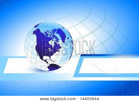 Globe on Abstract Business Background Original Illustration
