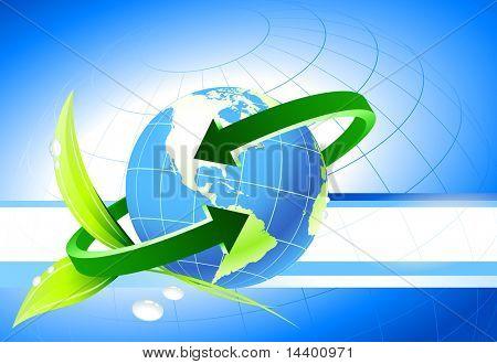 Globe on Nature Background Original Illustration