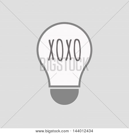 Isolated Line Art Light Bulb Icon With    The Text Xoxo
