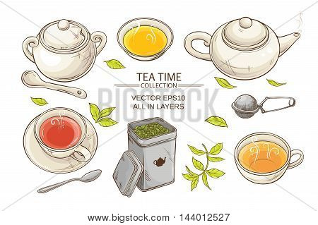 Vector set with cups teapot sugar bowl tin packaging and tea strainer on white background