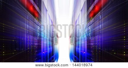futuristic server blur motion room with modern communication and server equipment