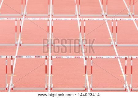 PRAGUE, CZECH REPUBLIC - MARCH 7, 2015: A view of the hurdles before the 60m event during the European Athletics Indoor Championship.