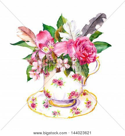 Boho style tea cup with rose flowers and feathers. Watercolor in hippie style