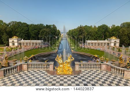 Grand cascade fountains in Petergof, view from the terrace of the Grand Palace, St Petersburg, Russia. Longexposure shot.