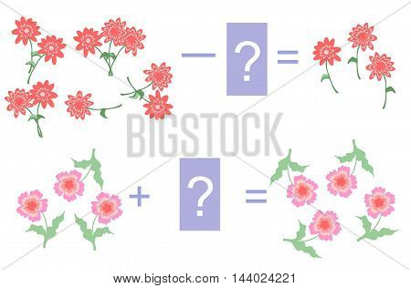 Educational game for children.Cartoon illustration of mathematical addition and subtraction. Examples with flowers. Easy editable pattern.