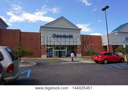 PETOSKEY, MICHIGAN / UNITED STATES - AUGUST 1, 2016: The Goodwill Store sells used clothing and other donated merchandise in Petoskey's Bear Creek Plaza.