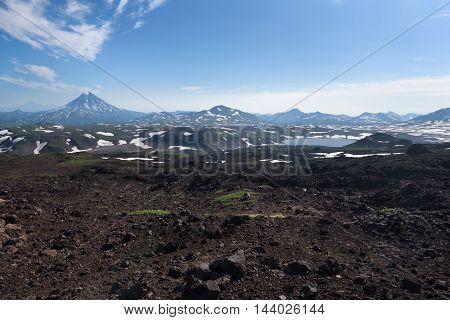 Top of Vilyuchinskaya volcano and mountain lake from Gorely Volcano, Kamchatka, Russia