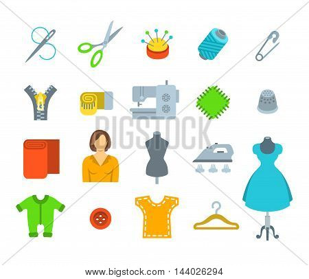 Sewing icons flat vector set. Tools and accessories for tailoring and needlework. Handmade clothes atelier symbols. Dressmaker instruments kit. Seamstress with her work equipment