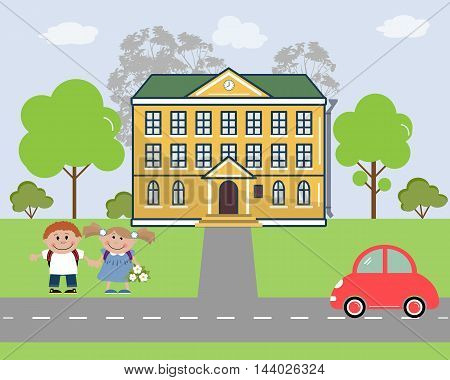 Children go to school. There are school, trees, the pupils, car in the picture. Flat style vector illustration