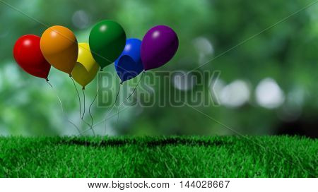 3d rendering baloons in rainbow colors
