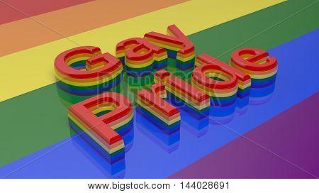 3d rendering words gay pride writen on rainbow background