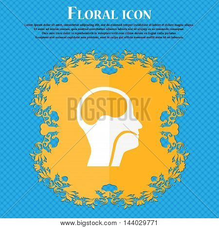 Larynx, Medical Doctors Otolaryngology Icon. Floral Flat Design On A Blue Abstract Background With P