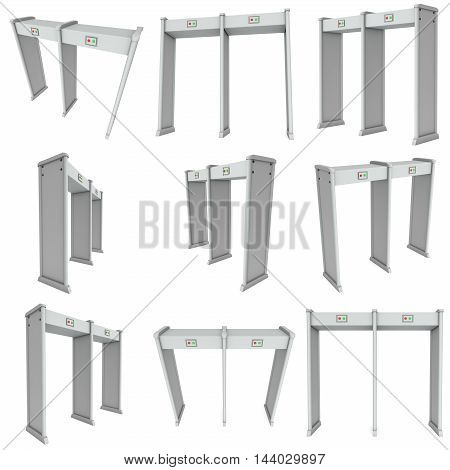 Metal detector scanner set. 3D render isolated on white. Airport security gates with metal detectors collection. Walk through detector concept.