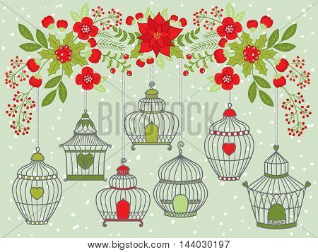Vector Christmas bird cages with flowers, holly, berries and leaves