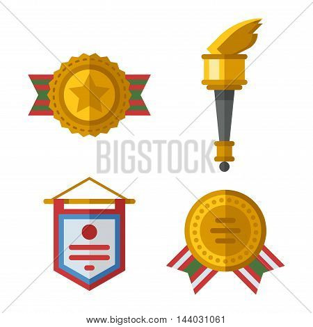 Trophy sports awards and sport awards in flat design style. Sports awards vector and gold winner cup sports awards. Sports awards trophy victory prize cup achievement, champion win competition.