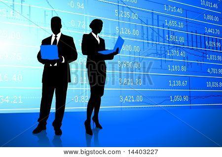 Business Couple on Stock Market Background Original Illustration