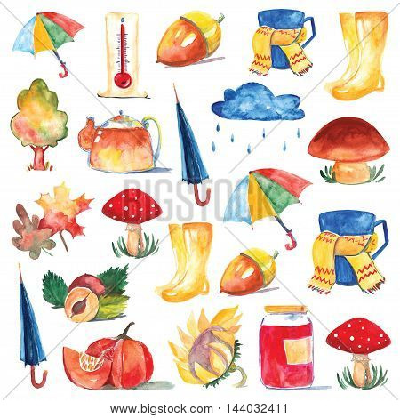 Set of watercolor icons Hello autumn Seasonal sale Hand drawn images