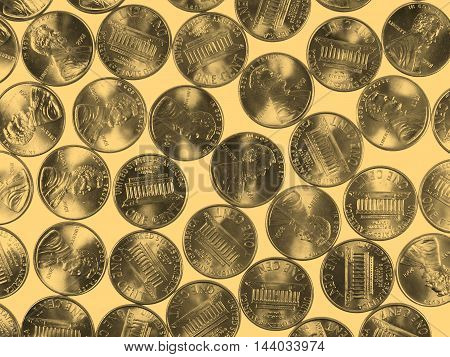 Dollar coins 1 cent wheat penny cent currency of the United States - vintage sepia look