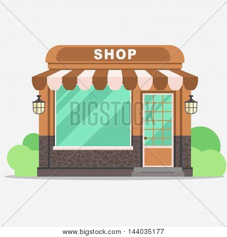 Street shop building facade, small store front, shopping design detailed illustration. Vector