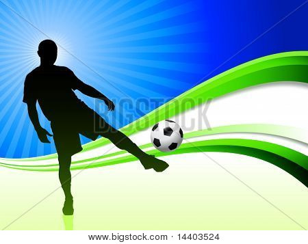 Soccer Player on Abstract Wave Background Original Illustration poster