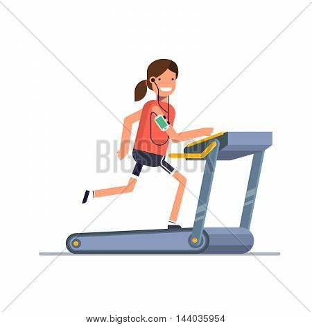 The girl goes in for sports on a treadmill while listening to music through the phone. A woman running in the gym. People strengthens health exercise