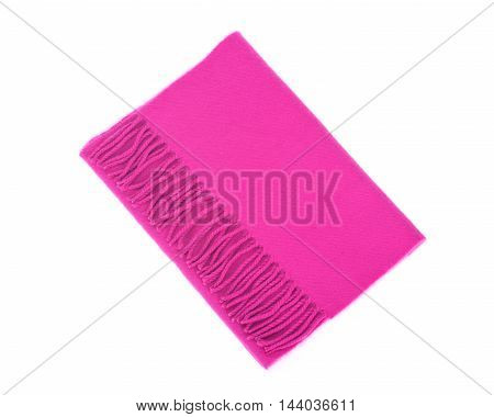 Pink cashmere scarf isolated on white background