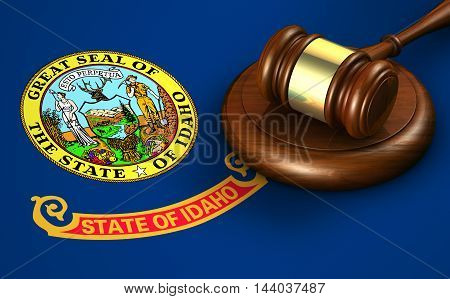 Idaho US state law legal system and justice concept with a 3D rendering of a gavel on the Idahoan flag on background.