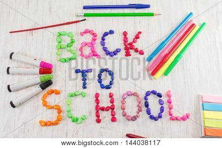 Back To School Written With Colorful Stones