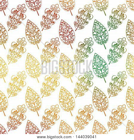 Vector illustration. Seamless pattern. Stylized autumn falling leaves decorated with a delicate tendril floral ornament