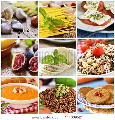 a collage of nine pictures of different eatings and meals, such as garlics and tomatoes, uncooked spaghetti, figs, mozzarella cheese, wild rice, gazpacho, lentil salad or vegie burgers